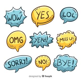 Pacote de bolhas do discurso mão desenhada com expressões diferentes