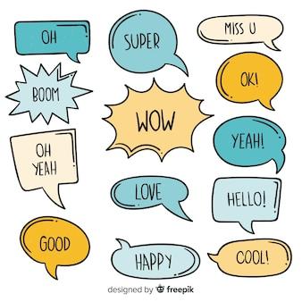 Pacote de bolhas do discurso mão desenhada com expressões