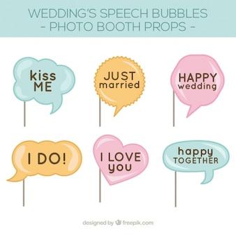 Pacote de bolhas do discurso para a cabine de fotos de casamento