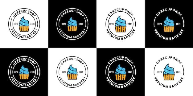 Pacote de bolo copo logo design vector distintivo vintage