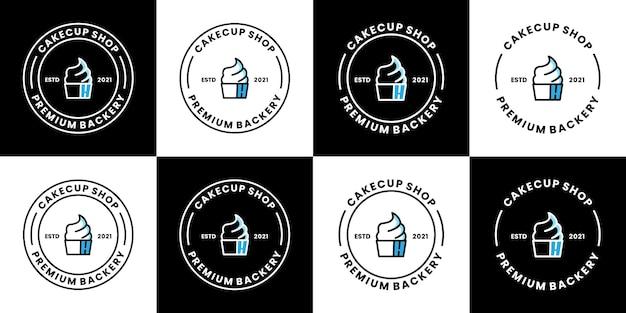 Pacote de bolo loja de logotipo de mercado de design de coleções de vetores alimentos