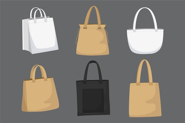 Pacote de bolsa de tecido de design plano