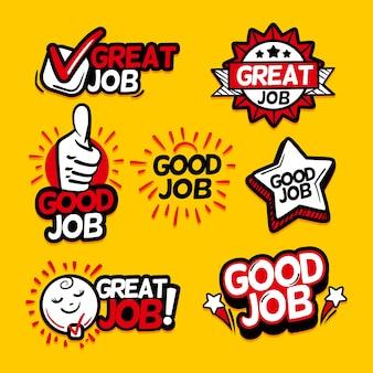 Pacote de bom trabalho e adesivos de ótimo trabalho