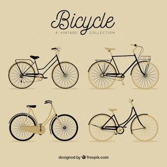 Pacote de bonitas bicicletas em estilo retro