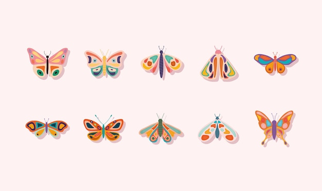 Pacote de borboletas desenhadas à mão