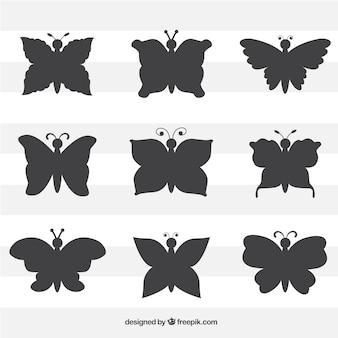 Pacote de borboletas silhuetas