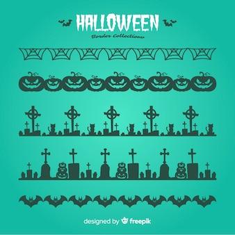 Pacote de bordas decorativas de halloween em design plano