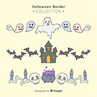 Pacote de bordas decorativas de halloween na mão desenhada estilo