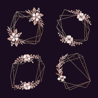 Pacote de bordas geométricas florais
