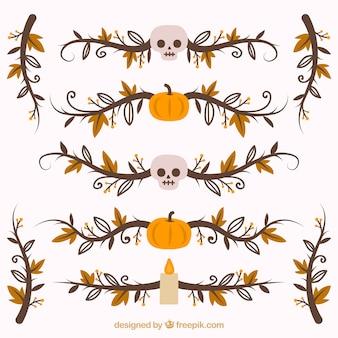 Pacote de bordas ornamentais de halloween