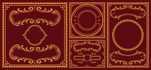 Pacote de bordas vintage, essas partes podem ser usadas para cartões postais