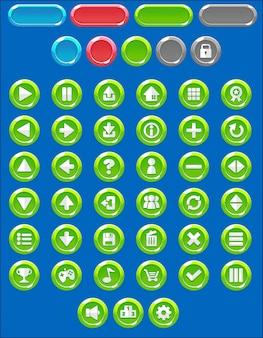 Pacote de botão de jogo redondo