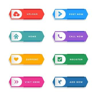 Pacote de botões de call-to-action de design plano