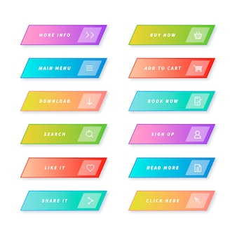 Pacote de botões de call to action em gradiente
