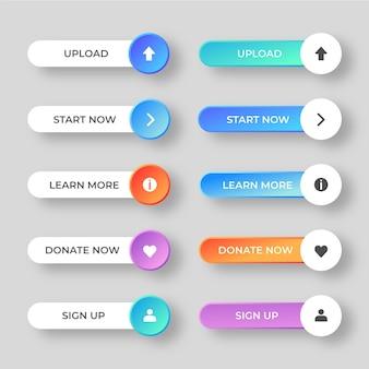 Pacote de botões de call-to-action gradiente