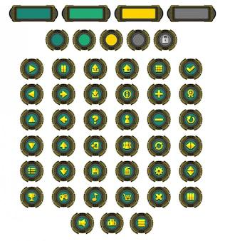 Pacote de botões de jogo de robôs
