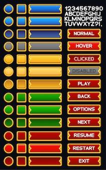 Pacote de botões de jogo medieval