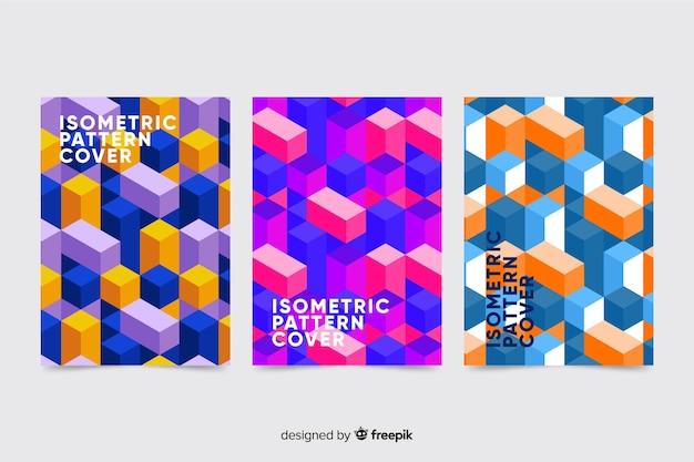 Pacote de brochura de padrão isométrico colorido