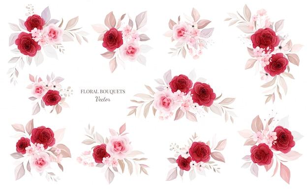Pacote de buquês de flores. ilustração botânica da decoração de rosas vermelhas e pêssego com folhas, ramo.