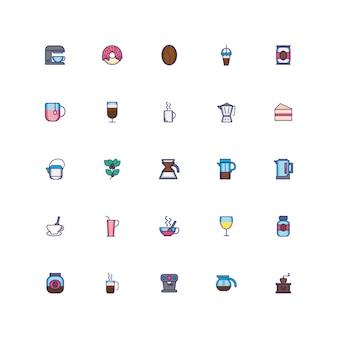 Pacote de café conjunto de ícones