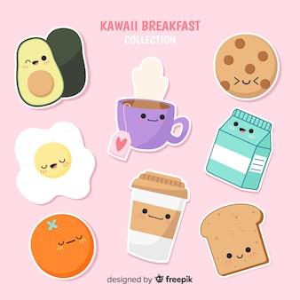 Pacote de café da manhã kawaii mão desenhada