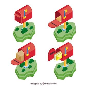 Pacote de caixas de correio vermelhas no estilo isométrico