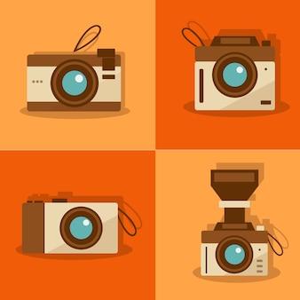 Pacote de câmeras retros no design plano
