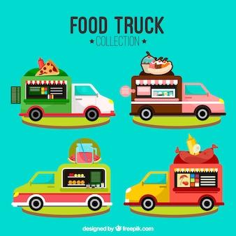 Pacote de caminhão de alimentos moderno com design plano