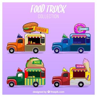 Pacote de caminhão de comida divertida com estilo desenhado a mão