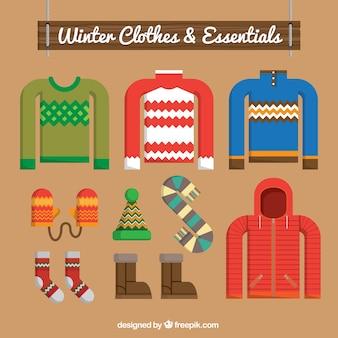 Pacote de camisas e acessórios de inverno em design plano