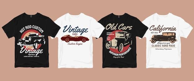 Pacote de camiseta vintage clássico carro retrô