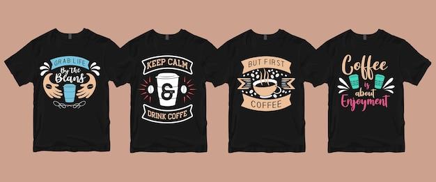 Pacote de camisetas com citações de café