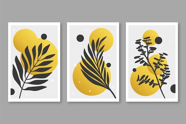 Pacote de capa botânica dourada