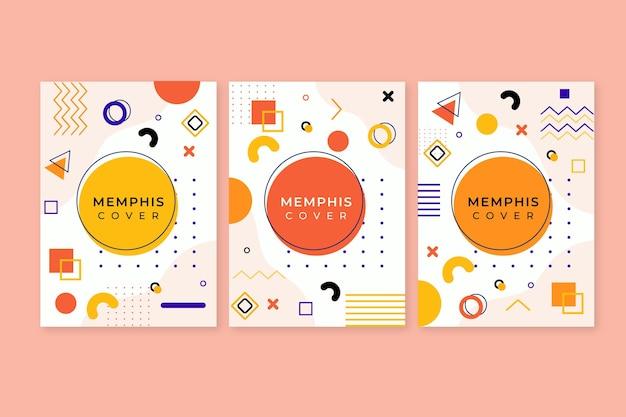 Pacote de capa colorida com design de memphis