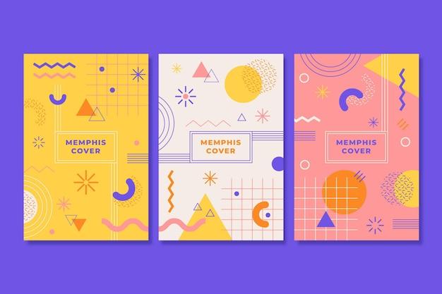 Pacote de capa colorida com design memphis