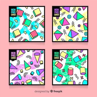 Pacote de capa colorida estilo memphis