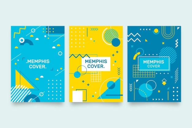 Pacote de capa com design de memphis de formas geométricas