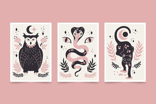 Pacote de capa de animais selvagens desenhados à mão