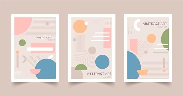 Pacote de capa de arte abstrata plana