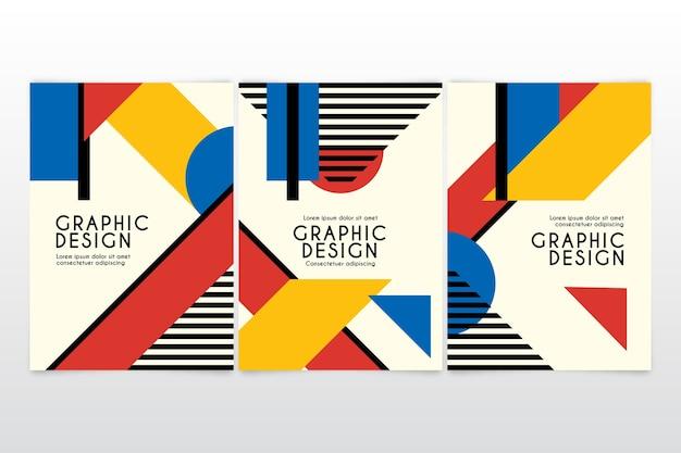 Pacote de capa de design gráfico