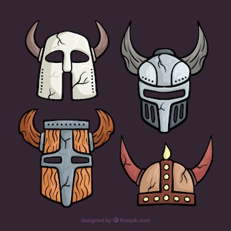 Pacote de capacetes de armadura desenhada a mão
