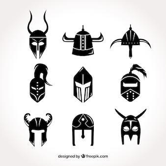 Pacote de capacetes de armadura negra