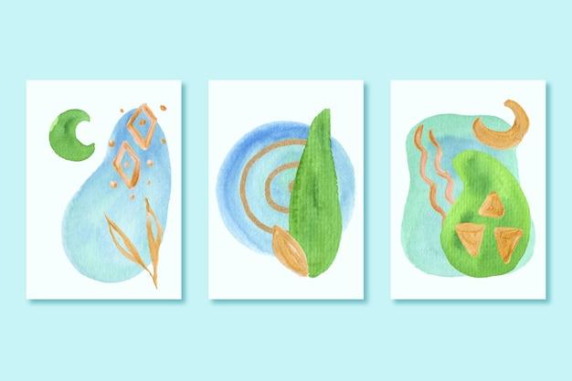 Pacote de capas com diferentes formas de aquarela