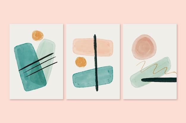 Pacote de capas com formas abstratas em aquarela
