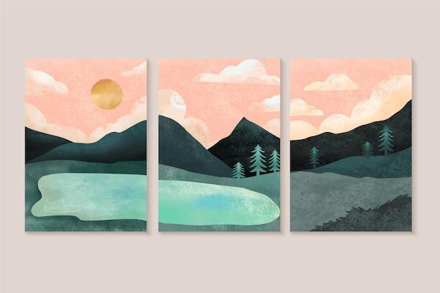 Pacote de capas de paisagem mínima em aquarela