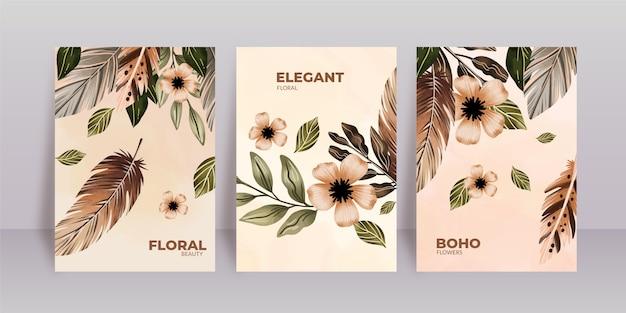 Pacote de capas florais em aquarela
