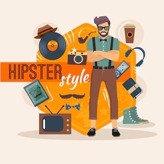 Pacote de caractere hipster para geek homem com acessório de moda e objetos