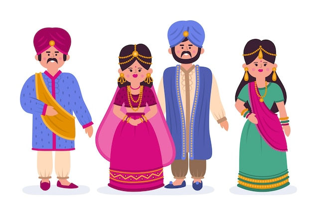 Pacote de caracteres de casamento indiano