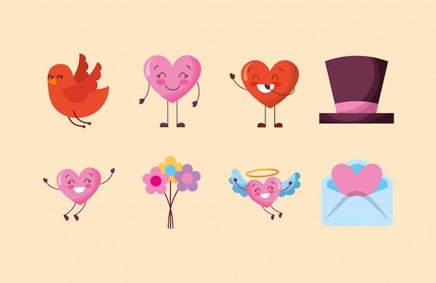 Pacote de caracteres de corações do dia dos namorados