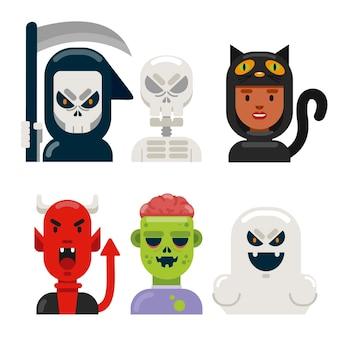 Pacote de caracteres de halloween plana